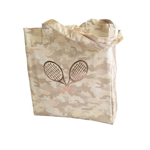 Upright Bag in Blush Camo with Rose Gold Tennis Racquets