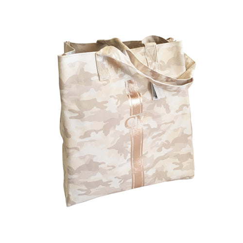 Upright Bag in Blush Camo with Rose Gold Monogram Stripe