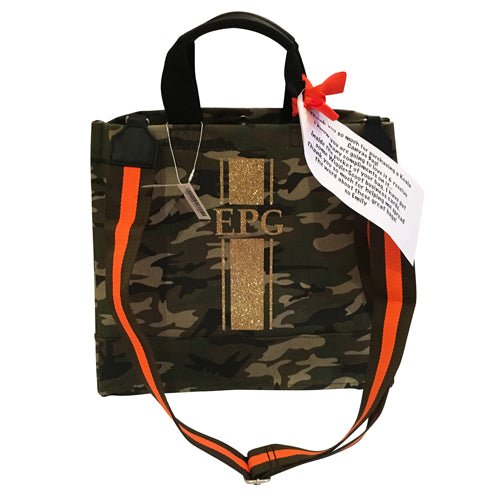 Luxe North South Bag in Green Camo with Gold Glitter Monogram Stripe