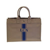 East West Bag in Grey with Royal Blue Stripe Monogram