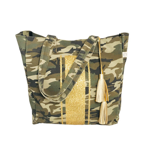 Upright Bag in Green Camo with Gold Glitter Stripe