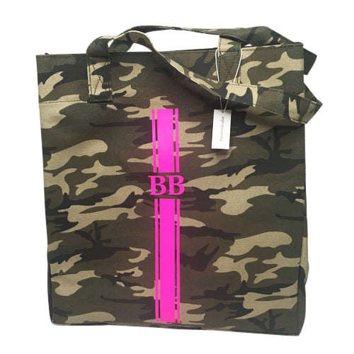 Upright Bag in Green Camo with Hot Pink Monogram Strap