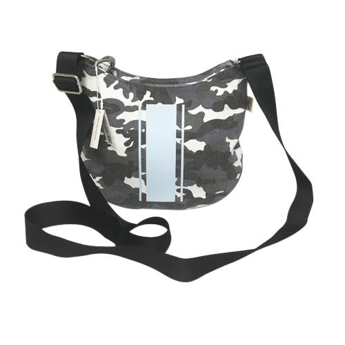 Mini City Bag Shown in Grey Camo with light blue matte triple stripe embellishment