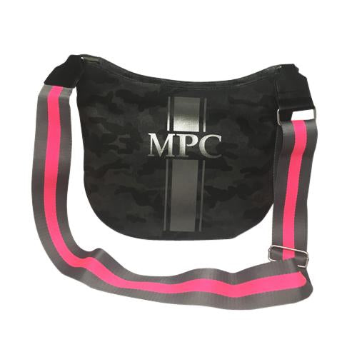 City Bag in Black Camo with Gunmetal Embellishment in Stripe Monogram with Pink/Grey Guitar Strap
