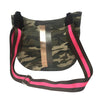 City Bag in Green Camo with Rose Gold & Gunmetal Stripe & Olive/Pink Stripe Strap