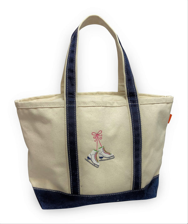 Medium Boat Tote with Ice Skates Motif