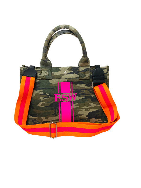 Midi East West Bag in Green Camo with Hot Pink Monogram Stripe