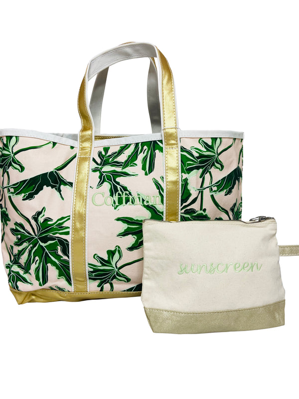 Printed Boat Tote in Palm + sunscreen clutch.