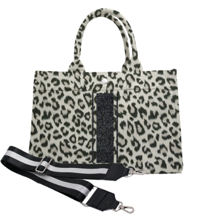 Midi East West Bag in Leopard with Black Glitter Triple Stripe & Guitar Strap