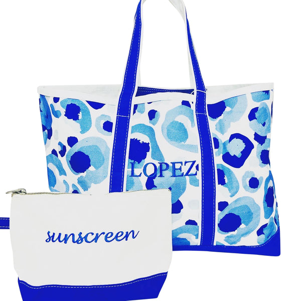 Printed Boat Tote in Spotted Blue + sunscreen clutch.