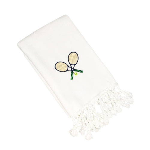 Tennis Motif Turkish Hand Towel