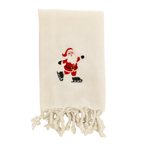 Skating Santa Turkish Hand Towel