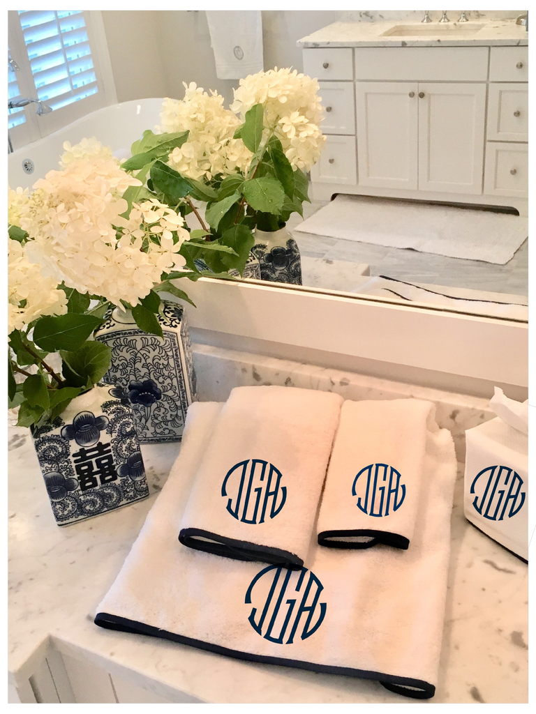 Towel and Tissue Box set with Monogram