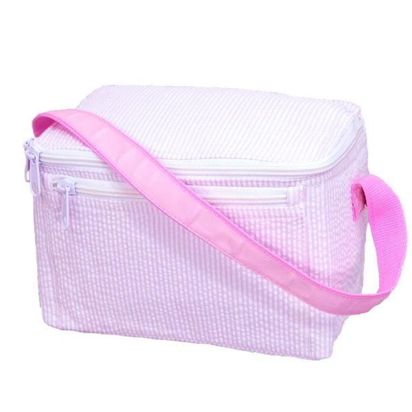 Pink Seersucker Insulated Lunchbox