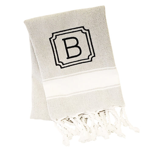 Grey Turkish Hand Towel with Double Frame