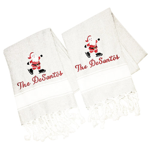 Grey Turkish Hand Towel with Santa