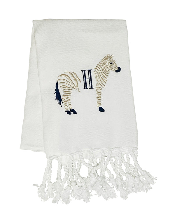 White Turkish Hand Towel with  Beige Zebra