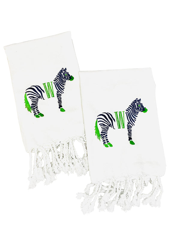 White Turkish Hand Towel with Zebra