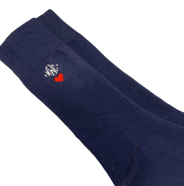Mens Navy Socks with (or without) Heart