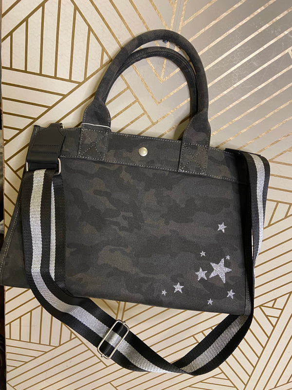 Midi East West Bag in Black Camo with Silver Glitter Stars & Guitar Strap