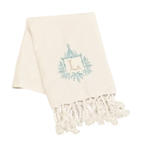 Pagoda Single Initial Turkish Hand Towel