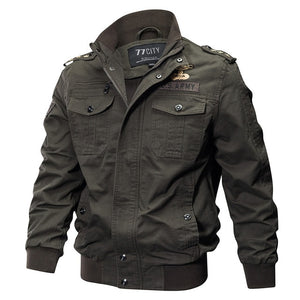 Mens Winter Cotton Bomber Jacket - Stand Collar Air Force Flight Jacket Windbreaker