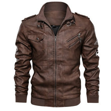 Load image into Gallery viewer, Mountainskin Men's Leather Jackets. New Autumn Leather Coats Motorcycle PU Jacket