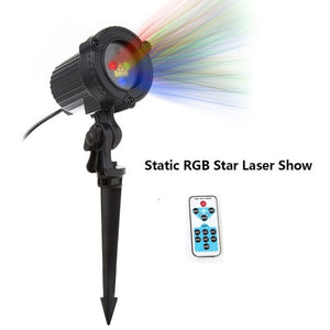 Christmas Laser Projector: Stars, Red Green Blue - Showers lights Outdoor. Static, Twinkle, remote