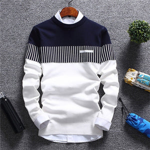Mountainskin Men's Autumn Winter Pullover Wool - Slim Fit, Knitted Sweater Striped