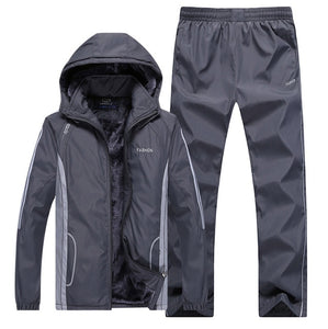 Winter Tracksuit with thick fleece Jacket+Pants - Two Piece - Fur Hood