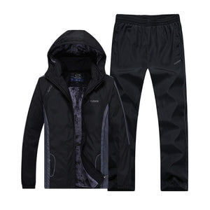 Winter Men's Casual Warm Thick Hooded Jacket+Pants - Inner wool Outwear Tracksuit