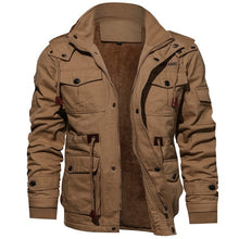 Load image into Gallery viewer, Men's Coat - Long Sleeve, Stand Collar, Cotton Coat. Thick Hooded Cargo Coat.