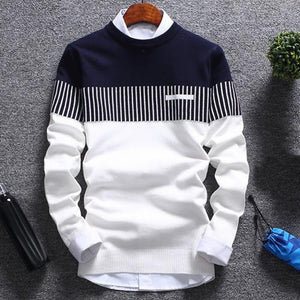 Men's Fashionable Sweater - Color Block Patchwork - O Neck Long Sleeve Knitted Sweater
