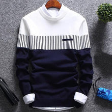 Load image into Gallery viewer, Men's Fashionable Sweater - Color Block Patchwork - O Neck Long Sleeve Knitted Sweater