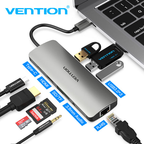 Vention Thunderbolt 3 Dock USB Hub Type C to HDMI USB3.0 RJ45 Adapter for MacBook