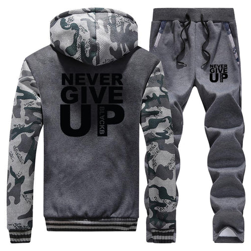 2019 Tracksuit Men Sport Fleece Thick Hooded Clothing Casual Track Suit Men Warm Jacket+Pant 2Pcs Set Clothing