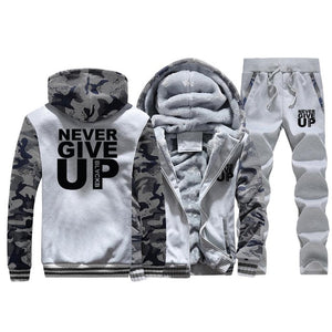 Tracksuit - Sport's Fleece Thick Hooded Clothing Casual - Warm Jacket+Pants