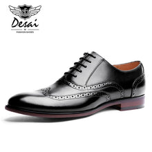 Load image into Gallery viewer, Full Grain Leather Men's Oxford Shoes (British Style) Carved Bullock Formal Dress Shoes