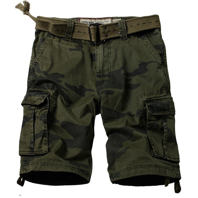 ReFire Gear - Military Camouflage Shorts. Many Pockets Army Cargo Shorts.