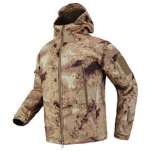 Shark Skin Soft Shell Tactical Military Jacket. Waterproof Fleece Coat - Army Camouflage Windbreaker