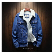 Load image into Gallery viewer, Light Blue Winter Jean Jackets - Outerwear Warm Winter Denim Coats - Wool Liner