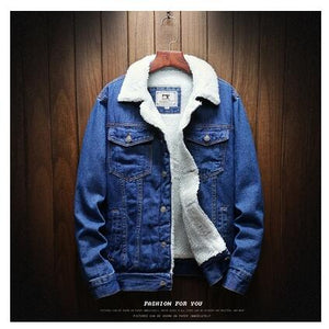 Light Blue Winter Jean Jackets - Outerwear Warm Winter Denim Coats - Wool Liner