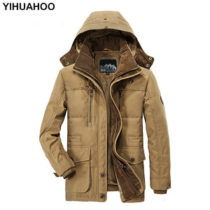 Men's Winter Jacket Thick Hooded Cotton Fleece Coat. Casual Warm Parka Windbreaker