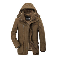 Load image into Gallery viewer, Men's Winter Jacket Thick Hooded Cotton Fleece Coat. Casual Warm Parka Windbreaker