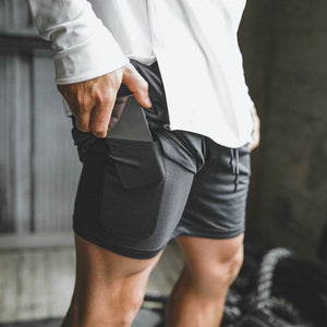 Secure Pocket Shorts - Fitness elastic waist. Quick-drying Breathable - 2 in 1 Joggers shorts