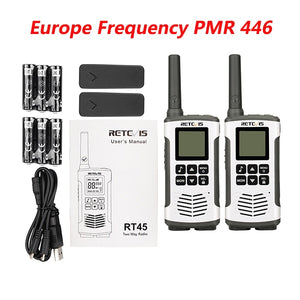 Retevis RT45 PMR446 Portable Two Way Radio 2pc Walkie Talkie 0.5W PMR 446MHz FRS VOX Rechargeable Battery For Motorola TLKR T50