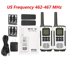 Load image into Gallery viewer, Retevis RT45 PMR446 Portable Two Way Radio 2pc Walkie Talkie 0.5W PMR 446MHz FRS VOX Rechargeable Battery For Motorola TLKR T50