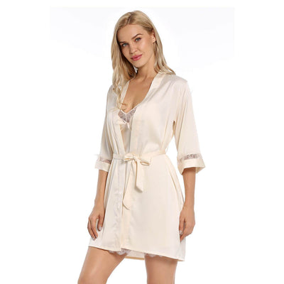 BEL0161-Satin Robe Bridal Kimono Lace Hem Nightgown