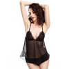 BEL0046 - Eyelash Lace Triangle Cup Sheer Babydoll Set with Matching Panty