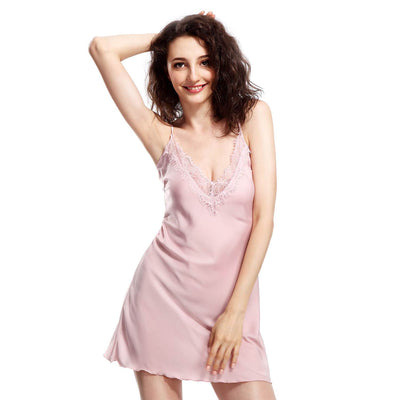 BEL0024 - Satin Slip Lingerie V-Neck Nightgown Chemise